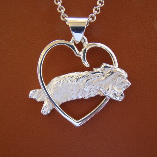 Sterling Silver Bearded Collie Jumping Study Through A Free Form Heart