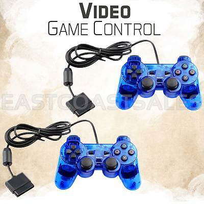 2x Blue Twin Shock Video Game Controller Joypad Pad for Sony PS2 Playstation 2
