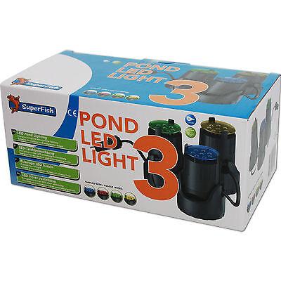 SUPERFISH POND LED LIGHT 3 - 3er Set Teichbeleuchtung Unterwasser Garten Licht