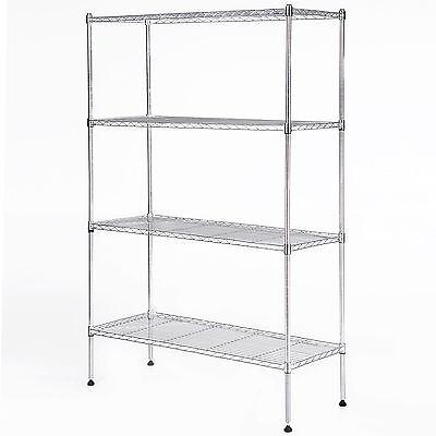 55x36x14 Heavy Duty 4 Tier Wire Shelving Rack Chrome Steel Shelf Adjustable