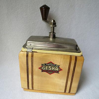original Geska Patent Luxus Holz-Kaffeemühle mechanische Mühle Stahlmahlwerk RAR