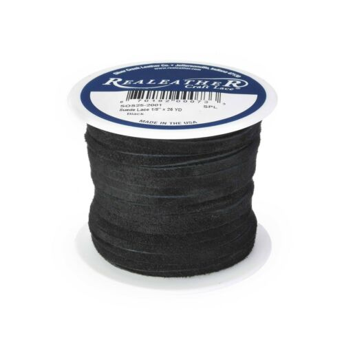 """Suede Lace Black 1/8"""" x 25 yds. by Silver Creek Realeather Made in USA"""