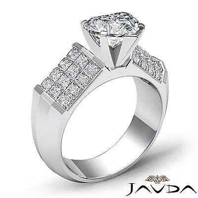 Heart Cut Diamond Engagement Prong Invisible Setting Ring GIA I Color SI1 2.2Ct 1