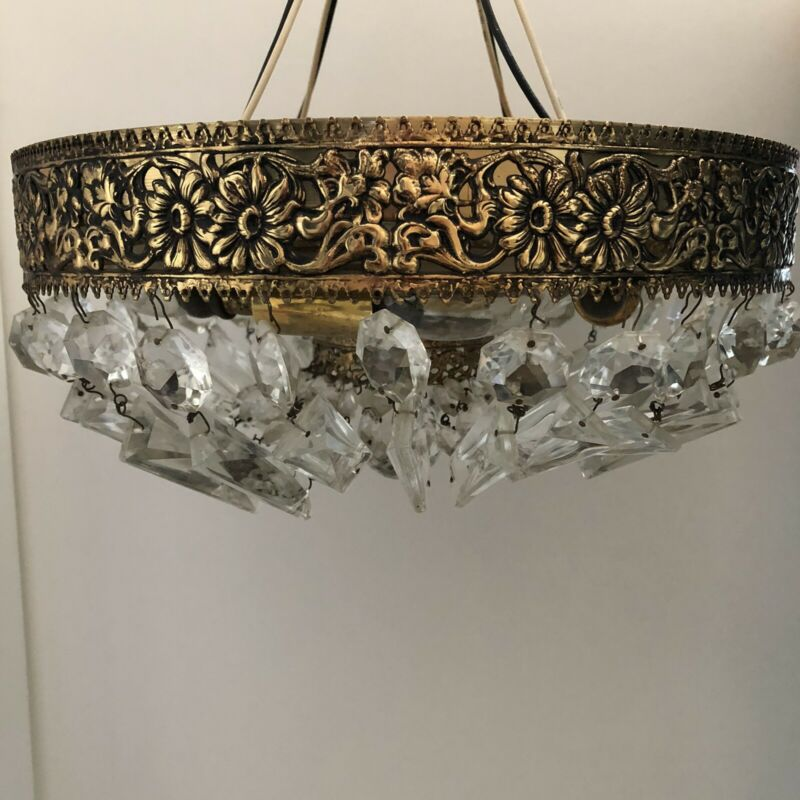 Vintage Crystal Flush Mount Ceiling Light 12""