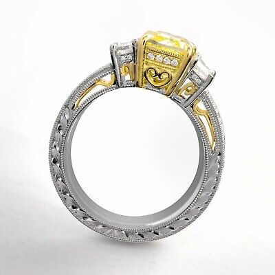2.25 Ct Cushion Cut Canary Antique Hand Carved Diamond Engagement Ring VS1 GIA 2