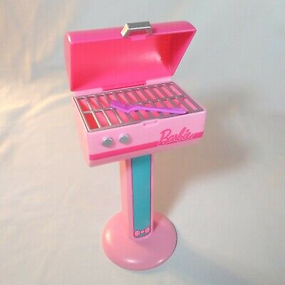 Mattel Barbie Doll House Furniture BBQ GRILL pink barbecue outdoors food spatula