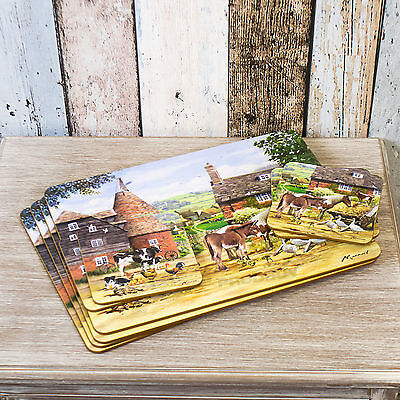 Set of 4 Placemats & Coasters Table Settings Mats Country Farmyard Cow Farm Hen