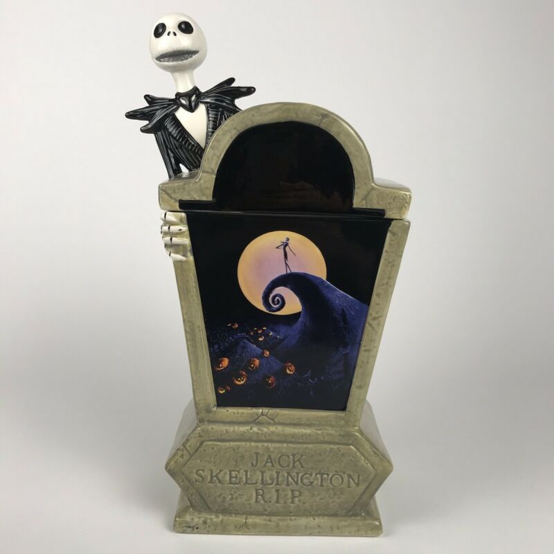 Nightmare Before Christmas JACK COFFIN COOKIE JAR Ceramic Tombstone Disney