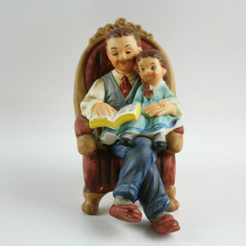 Rare Josef Originals Figurine Father And Daughter Reading Book Together, Japan
