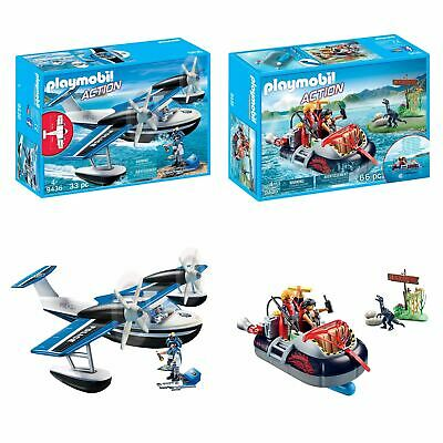 Playmobil Action Police Seaplane & Dino Hovercraft With Underwater Motor