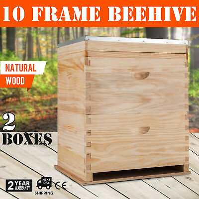 Bee Hive 2 Layers Complete Box Kit 1 Deep-1 Medium Langstroth Beekeeping