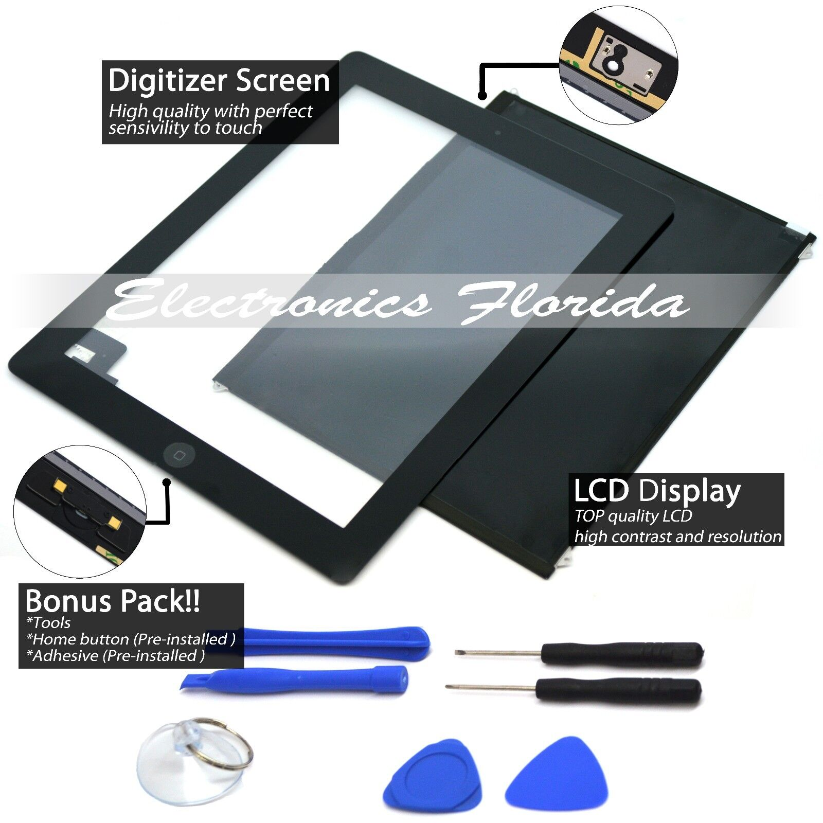 (lcd + Touch Screen Digitizer) Replacement For Apple Ipad...