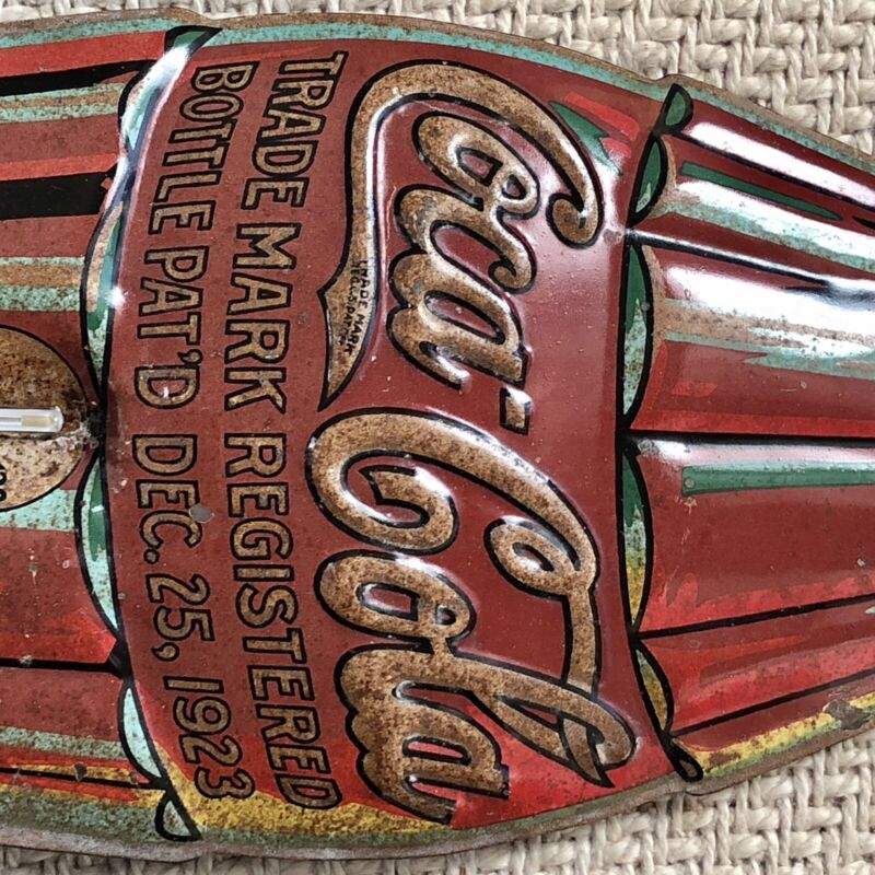 "VERY RARE 1930 Coca-Cola ""Christmas Bottle"" Tin Thermometer--Nice!"