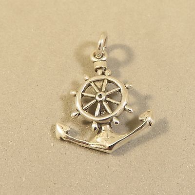 .925 Sterling Silver 3-D CAPTAINS WHEEL/ANCHOR CHARM NEW Pendant Sail 925 NT96 Captains Wheel Charm