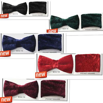 New VELVET Pattern Paisley Design Bow tie and Pocket Square Hankie Sets (Design Bow Tie Set)