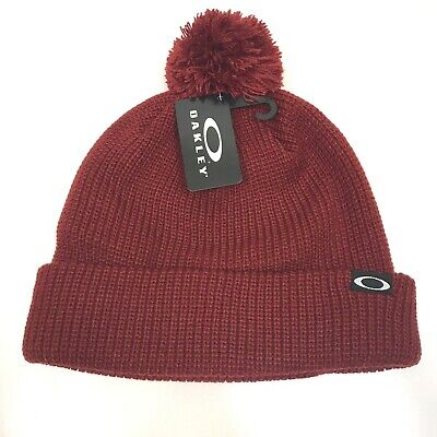 OAKLEY Beanie Riviera Pom Winter Hat Ski Snowboard NEW $30 Iron Red Warm Soft