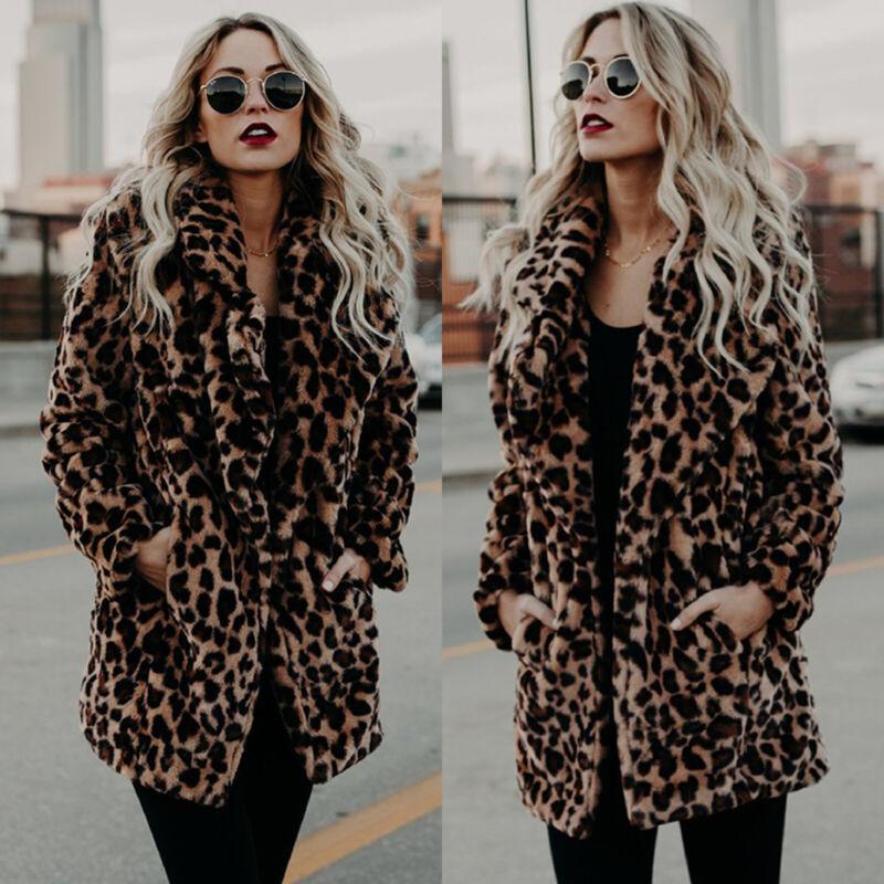 Frauen Leopard Kunstpelz Jacke Mantel Winter Warm Overcoat Cardigan Outwear