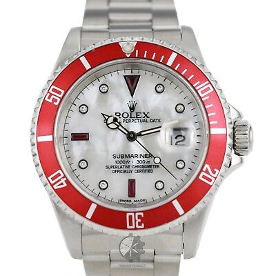 Authentic Rolex Submariner Stainless Steel 40mm Diamond/Ruby Dial Red Insert