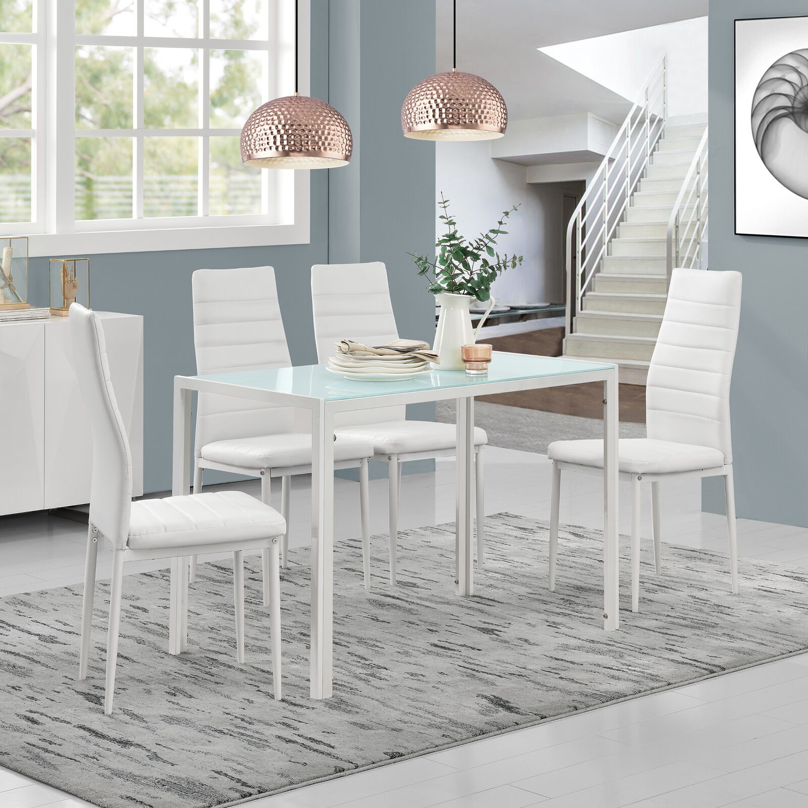 [en.casa]® Esstisch mit 4 Stühlen weiß Küchentisch Esszimmertisch Glas Tisch 63