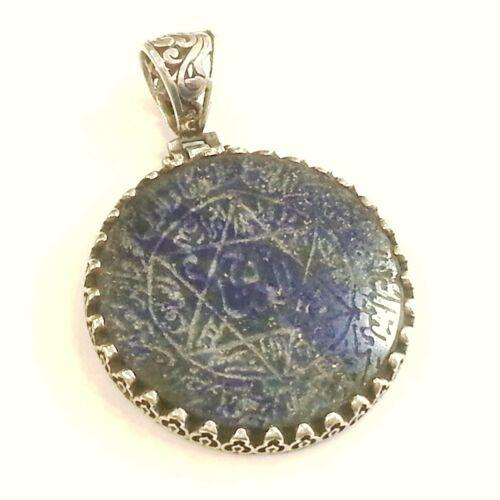 Seal of Solomon Talisman Pendant Engraving on Lapis Lazuli 925 Sterling Silver