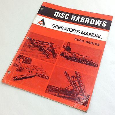 Allis Chalmers 33100 3200 3300 3400 Series Disc Harrows Operators Owners Manual