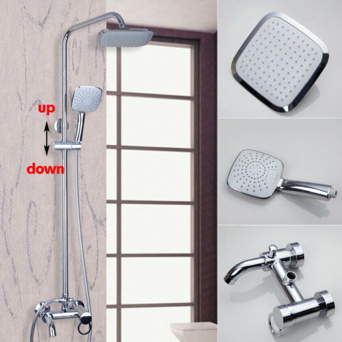 "8/""Square Rain Shower Head Faucet Set  Mixer Tap Handheld Shower Sprayer  Value"