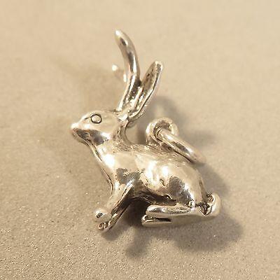 .925 Sterling Silver 3-D JACKALOPE CHARM NEW Rabbit Horns Pendant 925 AN103 ()