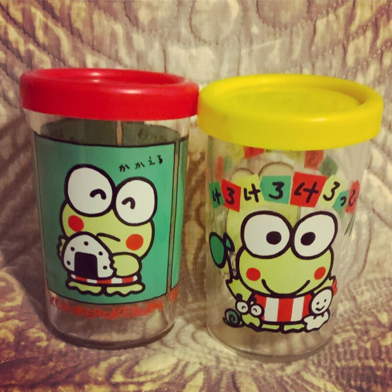 A Cool Vintage Pair of Sanrio 1985, 1990 Kerroppi Small Glasses With Lids