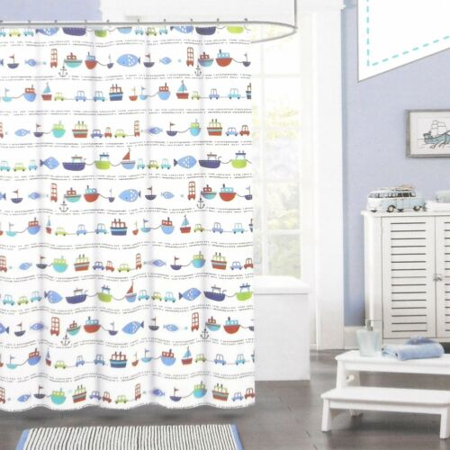 Authentic Kids Fabric Shower Curtain CARS BOATS FISH RED BLUE WHITE BOYS TRAVEL