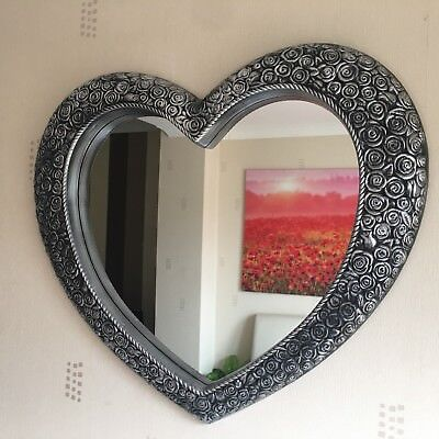 ANTIQUE STYLE ORNATE HEART WALL MIRROR DRESSING BATHROOM LARGE WALL MIRROR 67x58 ()