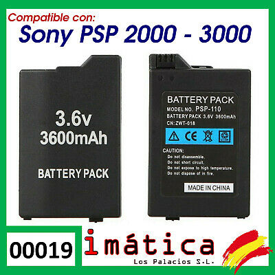 BATERIA PARA SONY PSP 2000 2004 3000 3004 COMPATIBLE SLIM 3600MAH CAPACIDAD...