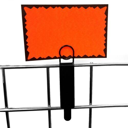 Black Metal Gridwall Sign Holder, Card Grip for Gridwall & Slat Grid Panels