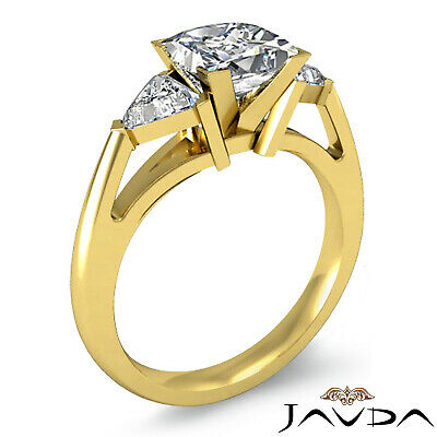 Trillion Cut 3 Stone Princess Diamond Engagement Ring GIA Certified I SI1 1.8 Ct 7