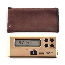 Vintage Seiko Quartz Digital Compact Travel Alarm Clock with Bag Model 883368