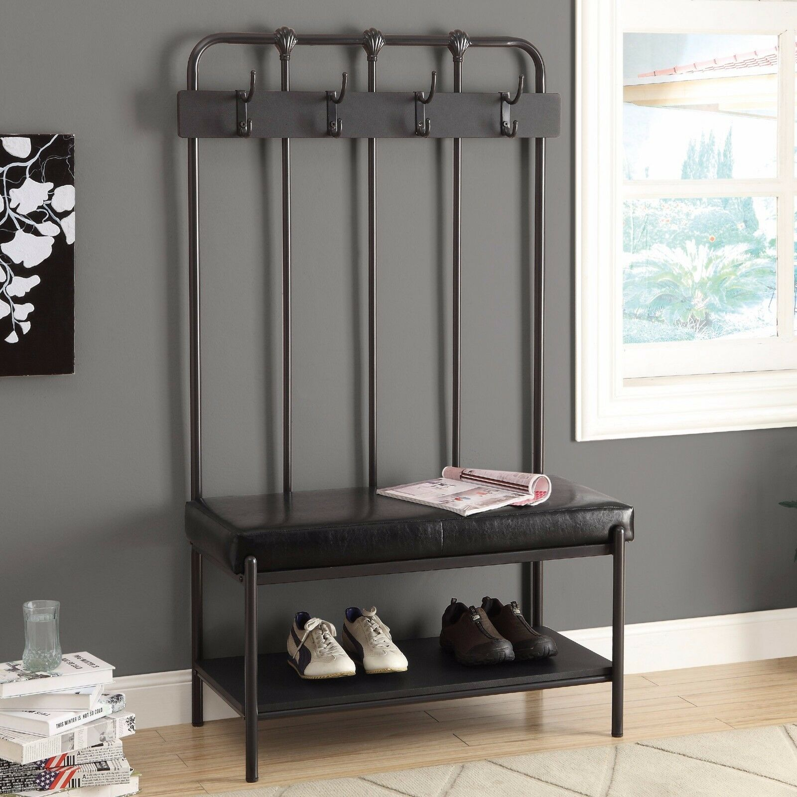 Tall Coat Stand Storage Bench Hallway Tree Entryway Rack Seat Charcoal Grey Seat