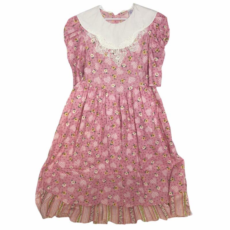 Vintage Dolls & Darlings Pink Floral Gingham Modest Cottage Party Dress Size 10