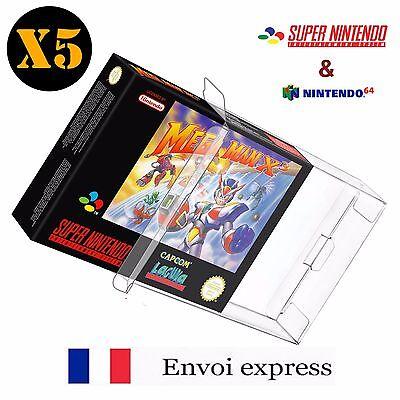 5X Protection transparente pour boite Super Nintendo SNES - boitier case sleeve