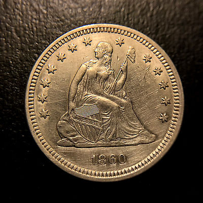 Click now to see the BUY IT NOW Price! 1860 LIBERTY SEATED QUARTER AU/UNC ABOUT UNCIRCULATED TYPE COIN SILVER 25C