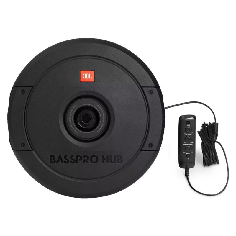 """JBL BassPro Hub 11"""" Spare Tire Subwoofer with 200W RMS Amplifier with Remote"""