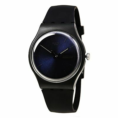 Swatch SUOB702 Unisex Black Rebel Silicon Rubber Strap Midnight Blue Dial Watch