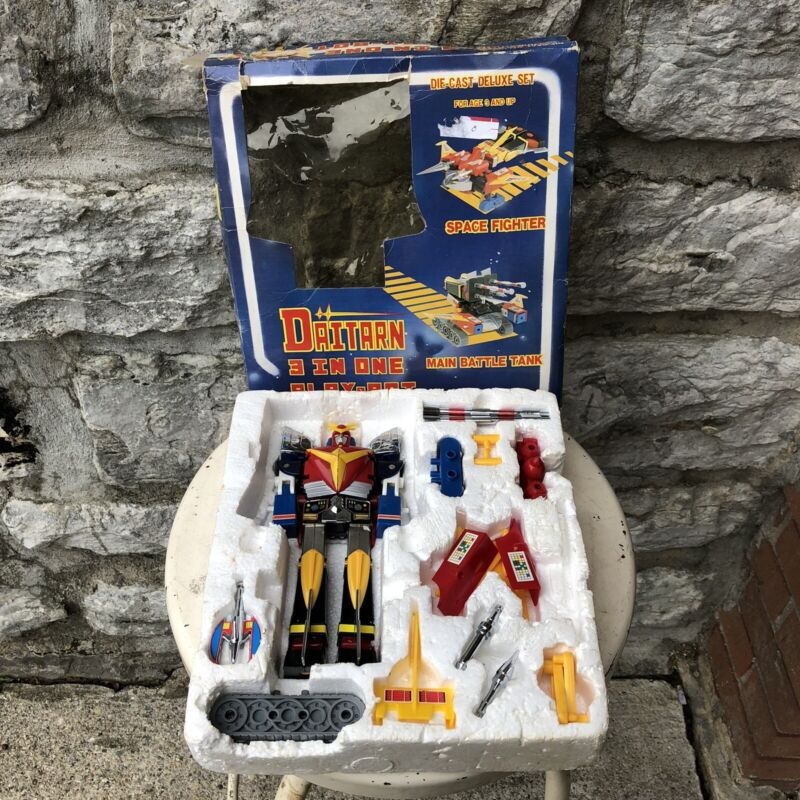 Vintage Deluxe Daitarn 3-In-One Play-Bot Action Figure Die-Cast Robot Toy 1980s