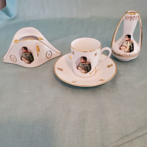 French Porcelain De Luxe Napoleon White Gold Tea Set Cup Saucer Ashtray Carafe