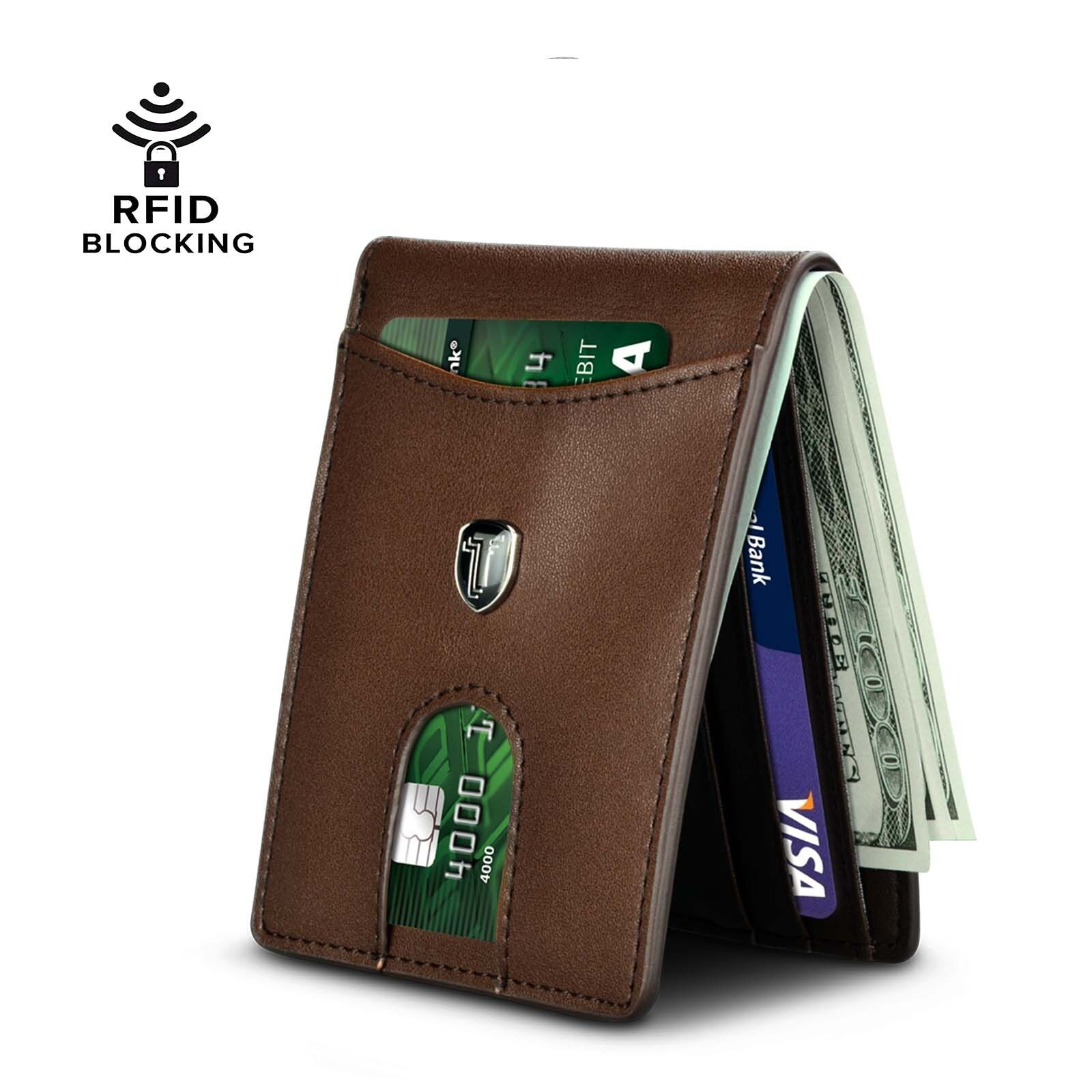 Mens Wallets Slim Front Pocket RFID Blocking Card Holder Minimalist Mini Bifold Clothing, Shoes & Accessories