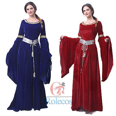 Medieval Renaissance Velvet Long Dress Celtic Queen Gown Party Cosplay Costume