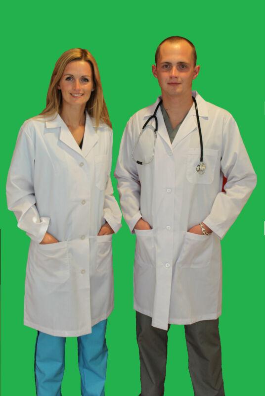Medical Doctor Unisex Men Women Lab Coats Size SX-3XL White Labcoat Long Jacket