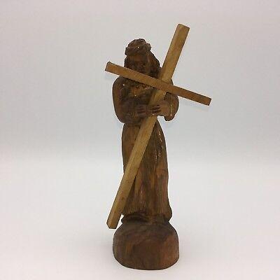 Oliveart Hand Carved Bethlehem Olive Wood Jesus Carrying Cross Passion of Christ