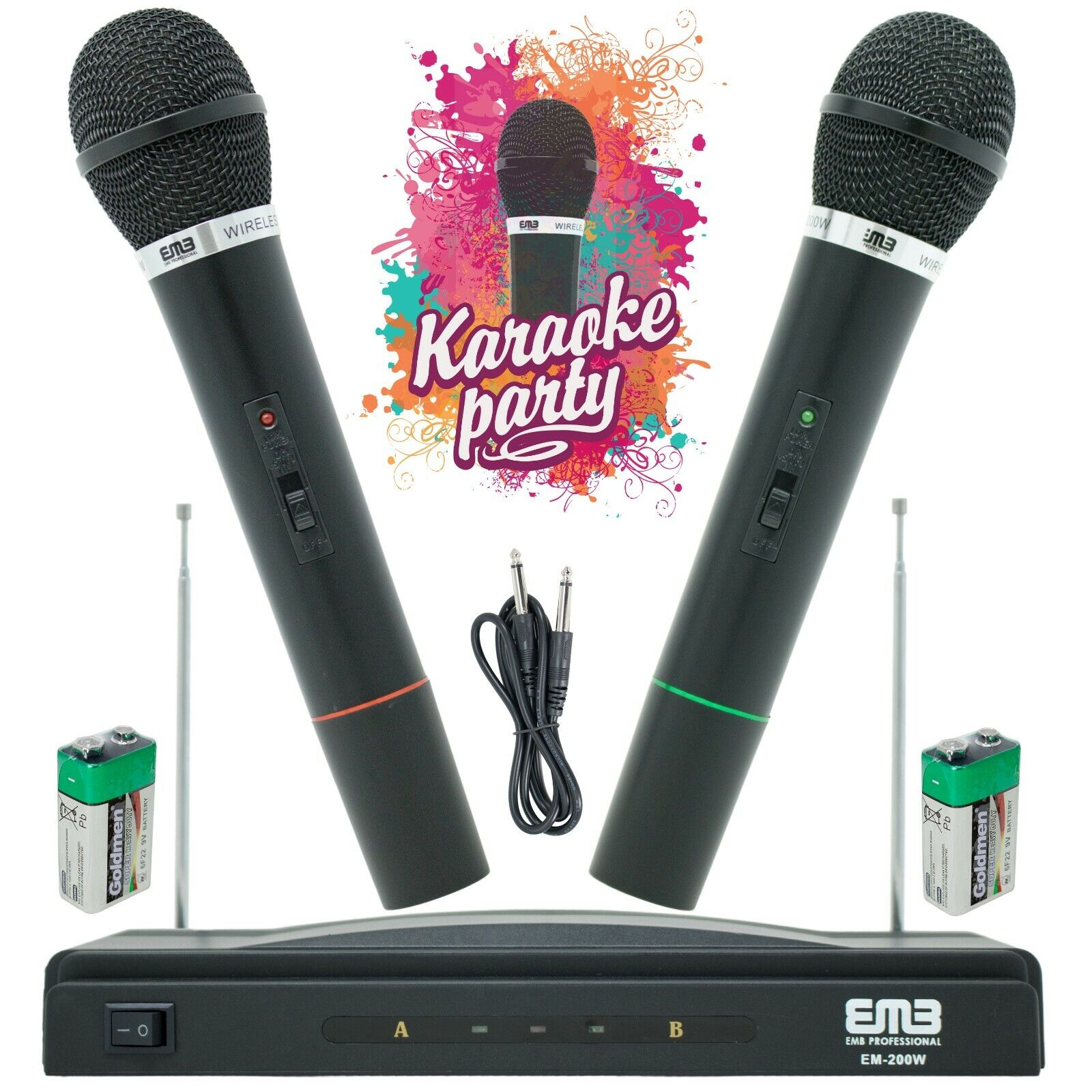 wireless microphone dual handheld 2 x mic
