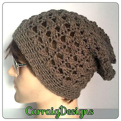 HANDMADE Grey Mans men unisex slouch dread tam hat hippie knitted beanie (Dreads Hats)