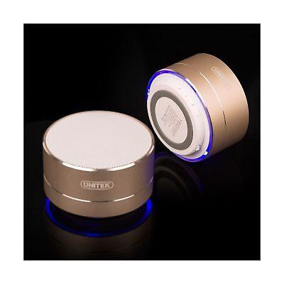 Portable Bluetooth Speaker  Unitek Aluminum Wireless Micro Sdsd Tf Card Gold New