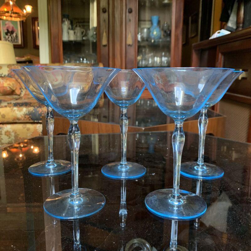 5 Fostoria Fairfax Azure Blue Champagne Tall Sherbet